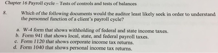 tests of controls payroll and personnel cycle