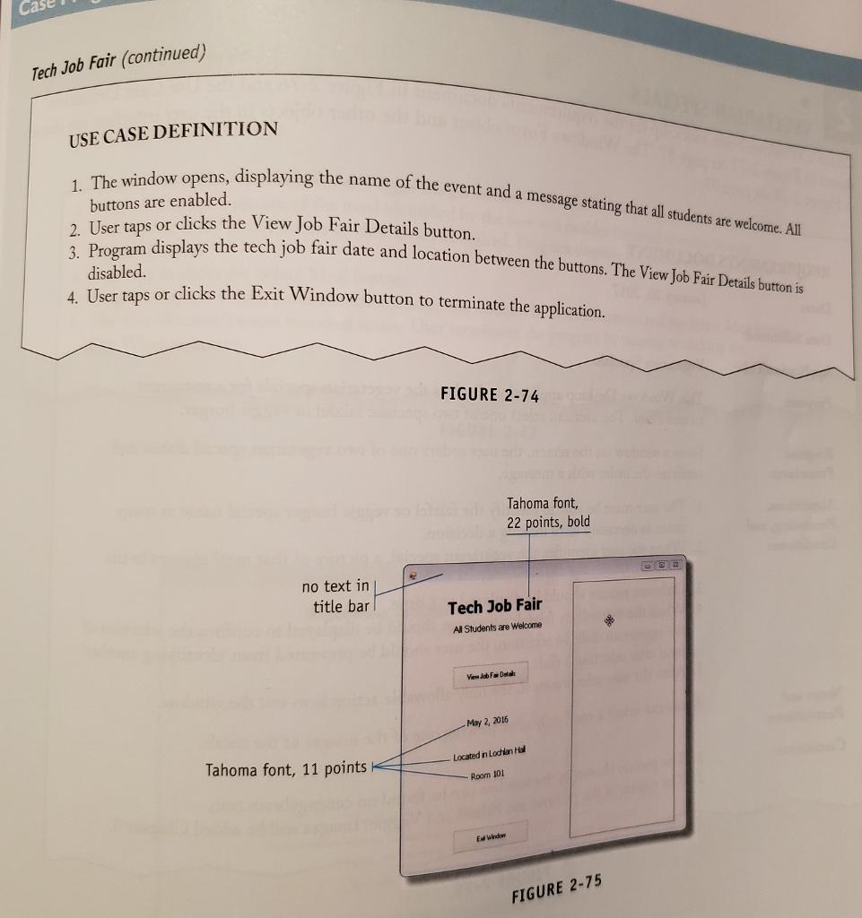 Solved: TECH JOB FAIR A Windows Form Create Mock-up For Th