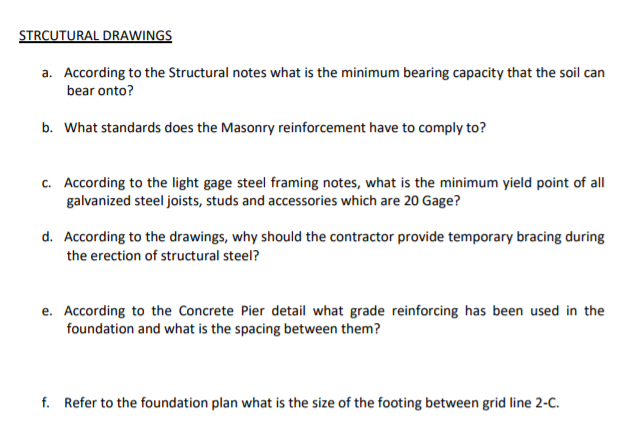 10  [15 Points] Reading Construction Drawings: Ans