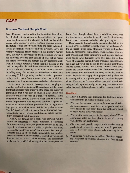 Solved  Case Business Textbook Supply Chain Dave Eisenhart