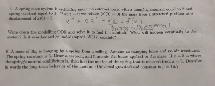 Solved: 6  A Spring-mass System Is Oscillating Under No Ex