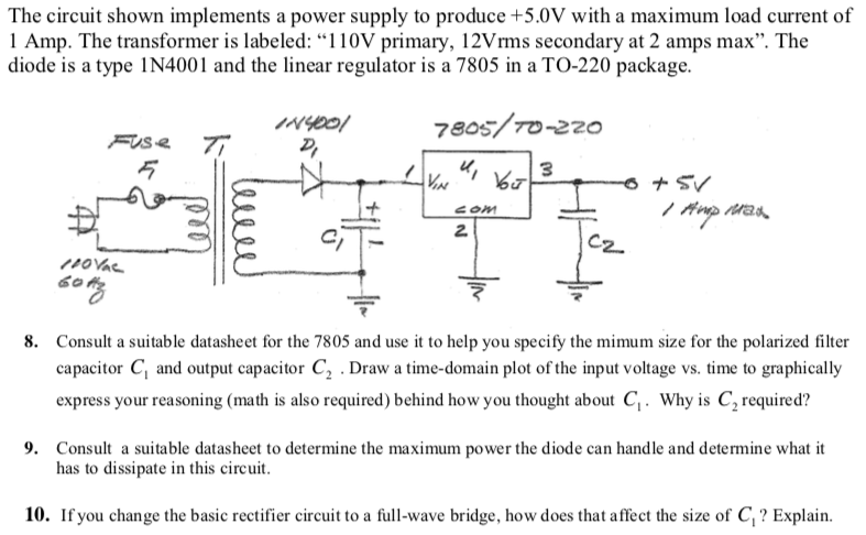 Solved: The Circuit Shown Implements A Power Supply To Pro
