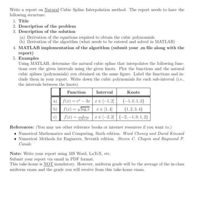 Write A Report On Natural Cubic Spline Interpolati