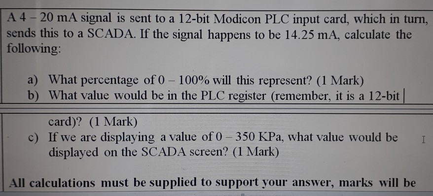 Solved: Awarde A 4 -20 MA Signal Is Sent To A 12-bit Modic