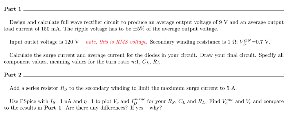 Solved Part 1 Design And Calculate Full Wave Rectifier Ci