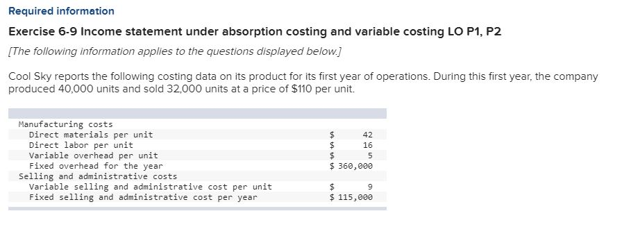 Question Required Information Exercise 6 9 Income Statement Under Absorption Costing And Variable