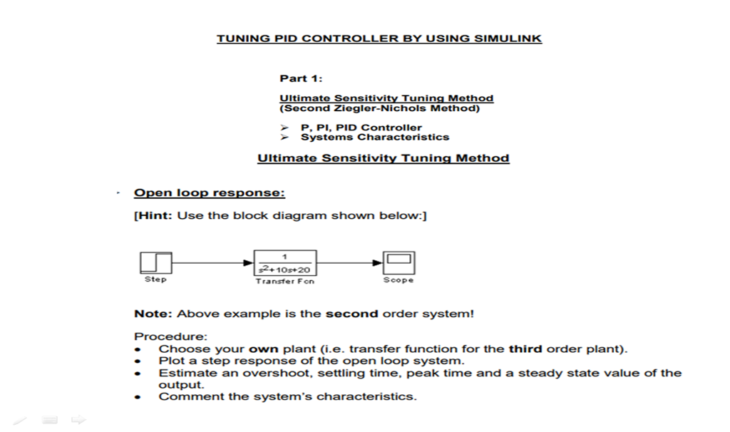 Solved: TUNING PID CONTROLLER BY USING SIMULINK Part 1: Ul