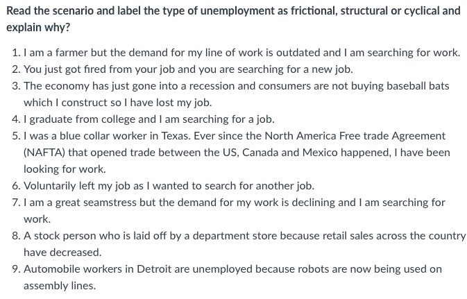 Solved Read The Scenario And Label The Type Of Unemployme