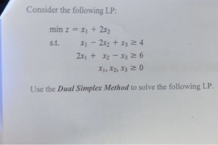 Solved: Consider The Following LP: Min Z =x1 + 2x2 S t  X