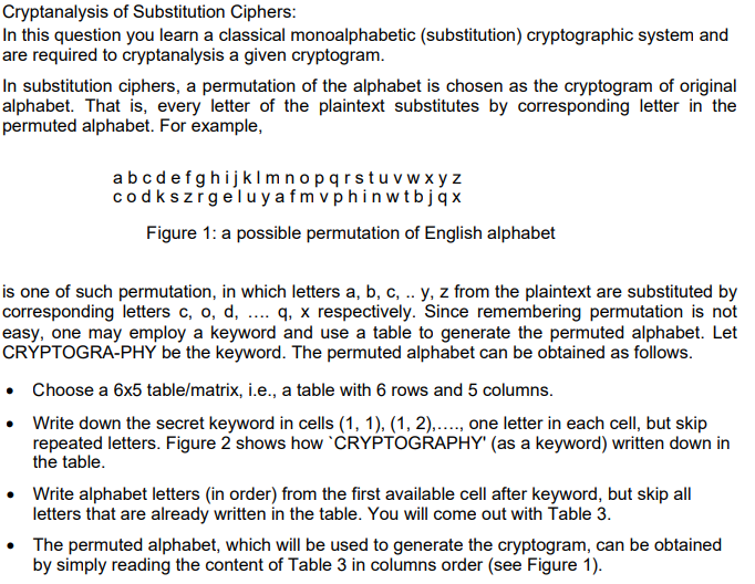 Cryptanalysis Of Substitution Ciphers: In This Que    | Chegg com