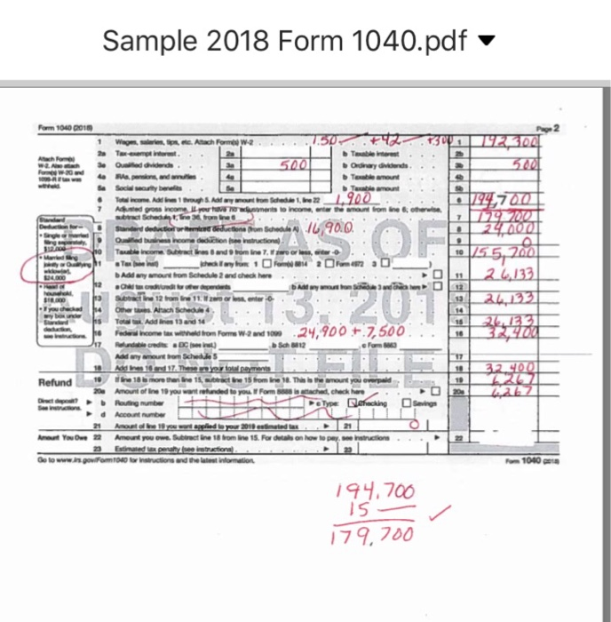 example 1040 form filled out  Use This Tax Form To Fill Out A 16 Tax Form | Chegg.com