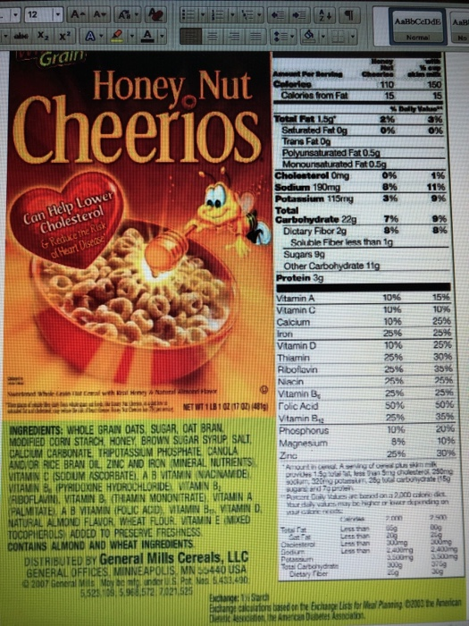 Honey, Nut CheerioS Calories From Fat
