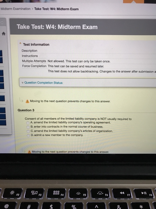 Solved Midterm Examination Take Test W4 Midterm Exam T