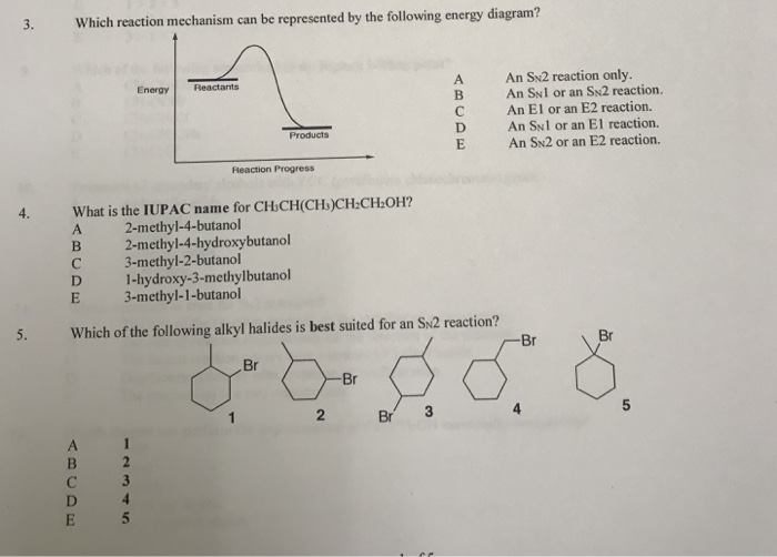 which reaction mechanism can be represented by the fllowing energy diagram?  a an