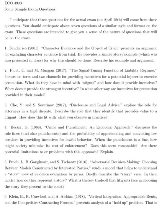 ECO 4903 Some Sample Exam Questions I Anticipate T