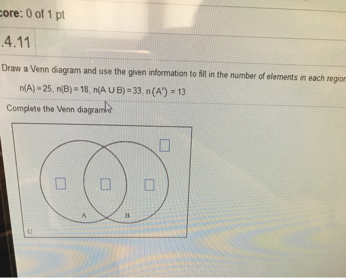 Solved Draw A Venn Diagram And Use The Given Information