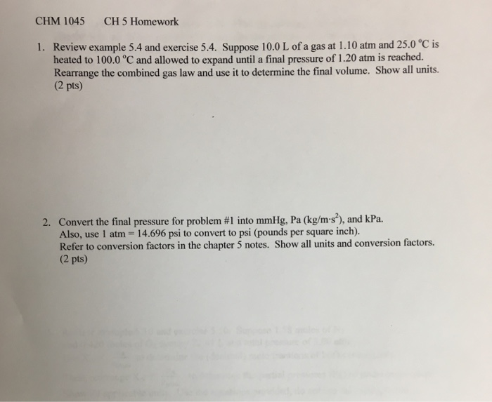 Solved Chm 1045 Ch 5 Homework Review Example 54 And Exer