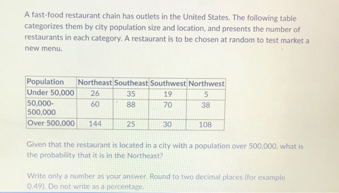 A fast-food restaurant chain has outlets in the United States. The following table categorizes them by city population size a