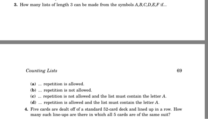 Solved 3 How Many Lists Of Length 3 Can Be Made From The