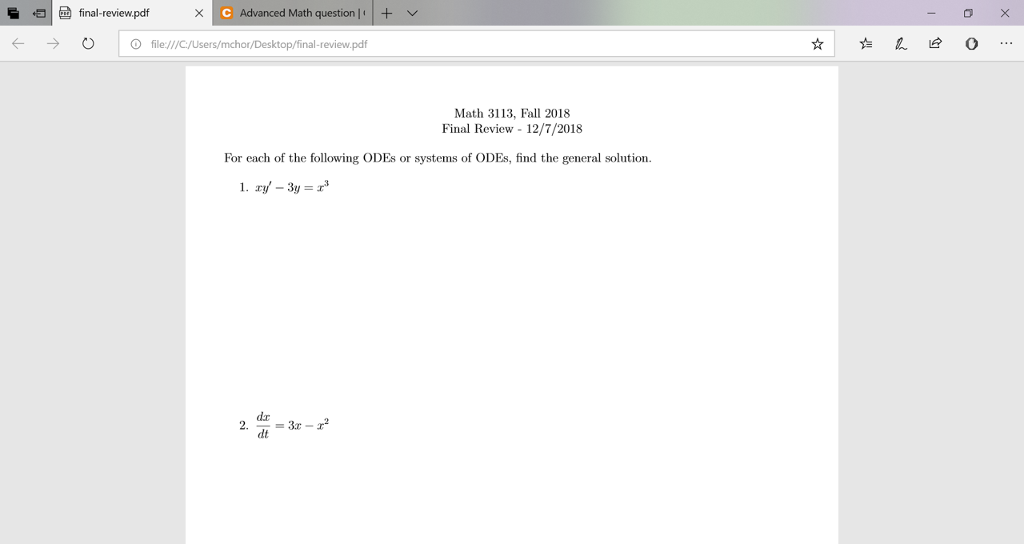 Solved: Final-review pdf Advanced Math Question-+ ﹀ → | O