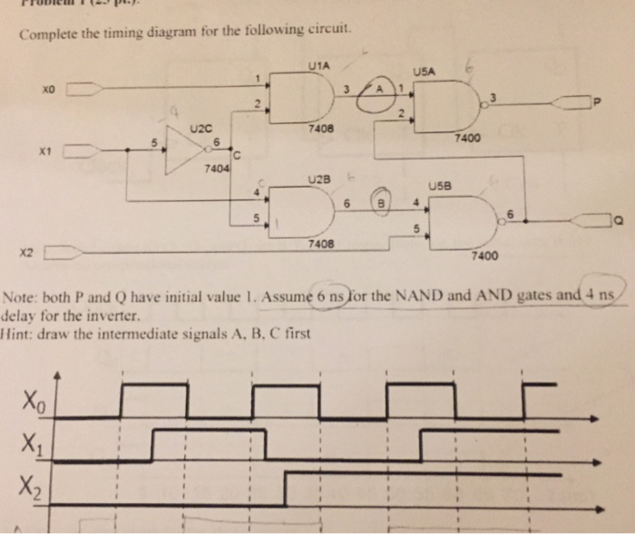 complete the timing diagram for the following circuit  u1a usa u2c 7408  7400 7404 u58