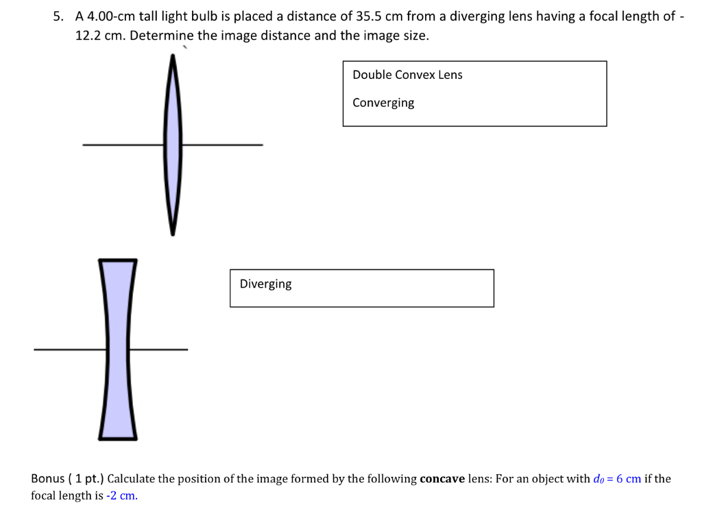 A 4 00 Cm Tall Light Bulb Is Placed Distance Of 35 5 From