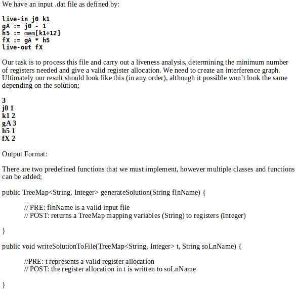 The Output File Should Consist Of: 1. An Initial L ... on