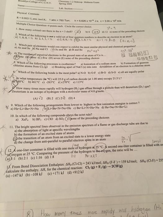 Solved: Brooklyn College Of C U N Y Spring 209 Chemistry 1