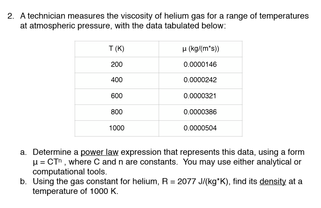 Solved 2 A Technician Measures The Viscosity Of Helium G