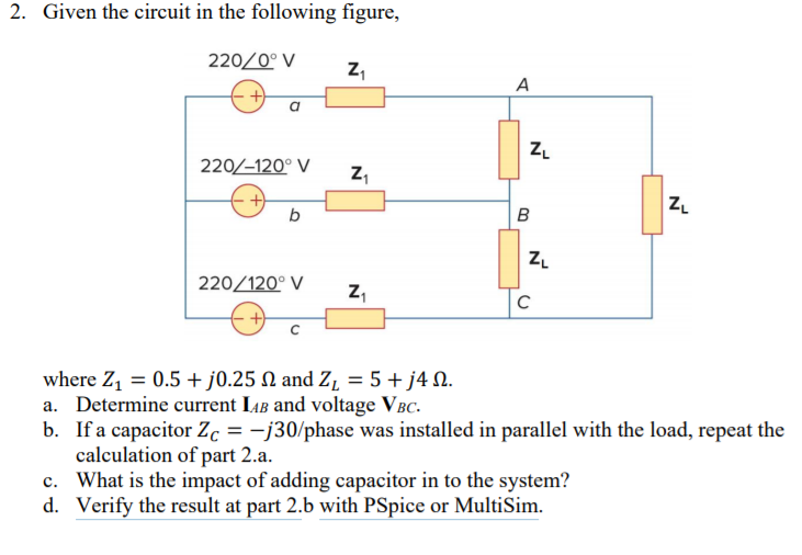 Solved: 2  Given The Circuit In The Following Figure, 220