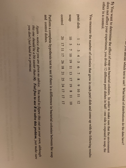 Solved: U YUl LeLide Which Test To Use? What Kind Of Distr