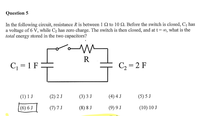 Solved: Question 5 In The Following Circuit, Resistance R ...
