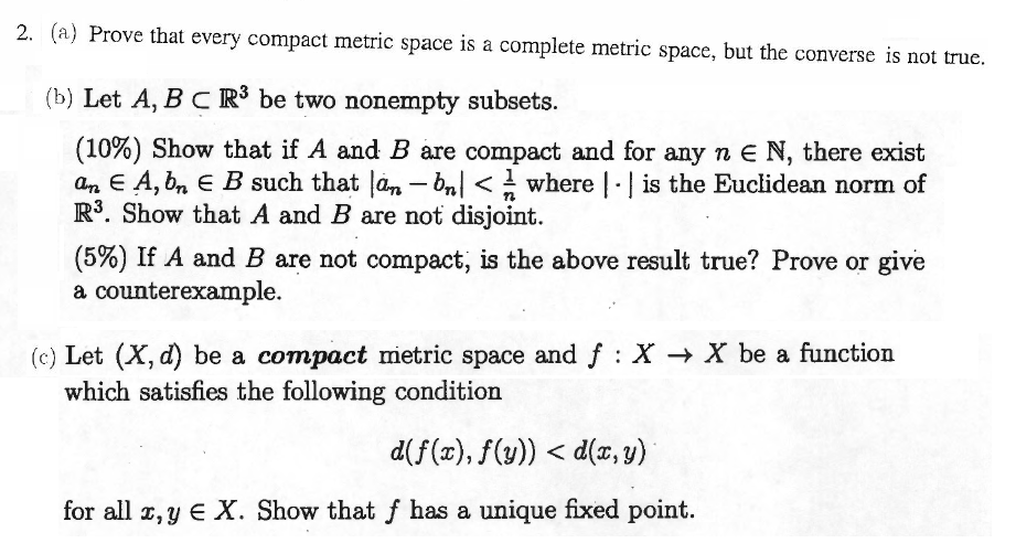 Solved 2 A Prove That Every Compact Metric Space Is A