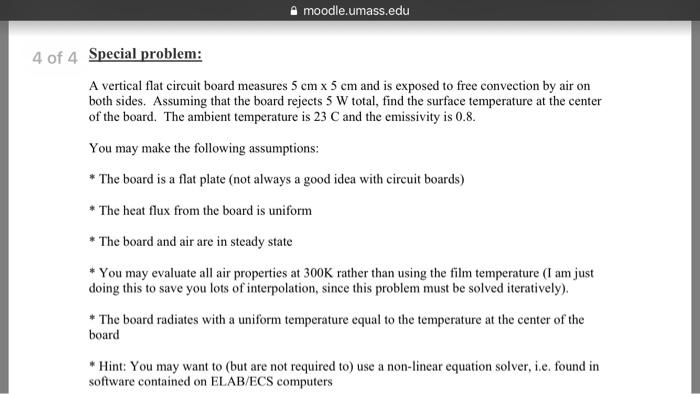 Solved Moodleumassedu 4 Of 4 Special Problem A Vertica