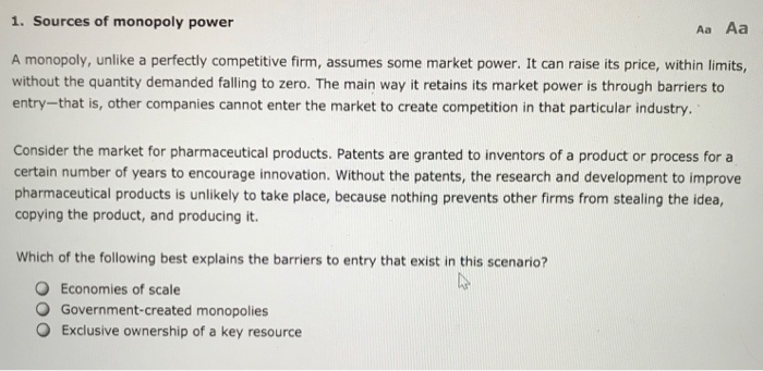 sources of market power for monopoly