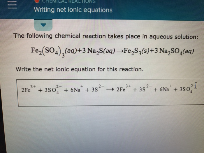 how to write the net ionic equation
