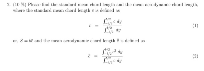 Solved 2 10 Please Find The Standard Mean Chord Leng