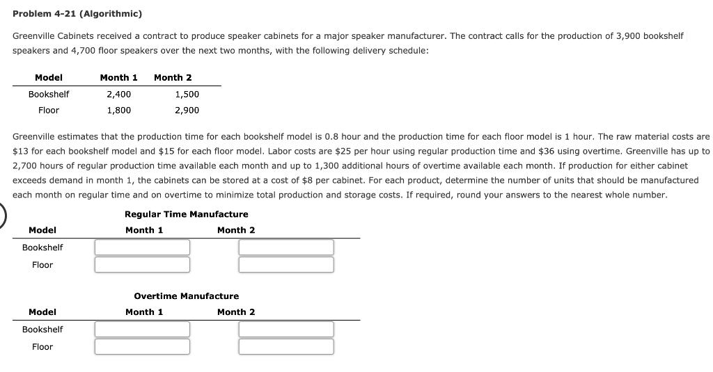 Solved: Problem 4 21 (Algorithmic) Greenville Cabinets Rec ...