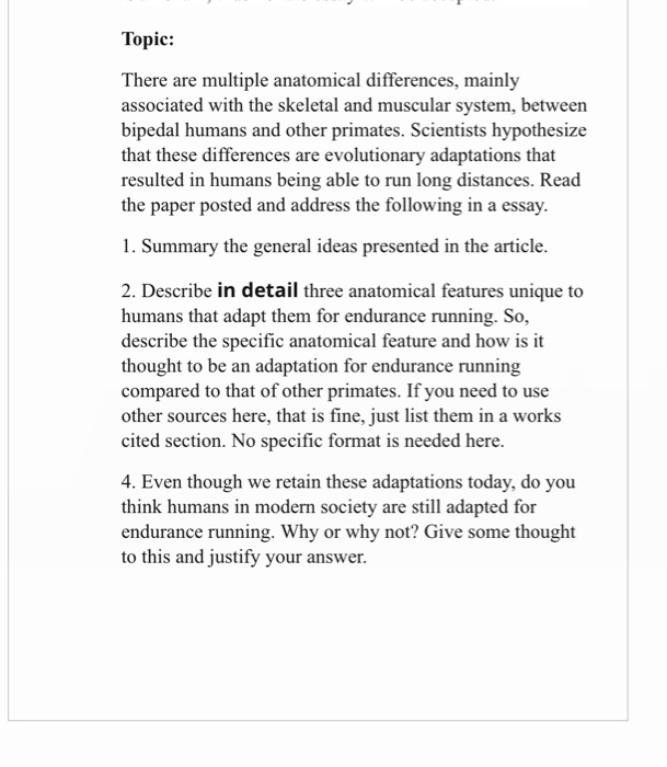 Essay On Cow In English Topic There Are Multiple Anatomical Differences Mainly Associated With  The Skeletal And Muscular System 5 Paragraph Essay Topics For High School also Science And Technology Essays Topic There Are Multiple Anatomical Differences   Cheggcom Thesis Statement For Comparison Essay
