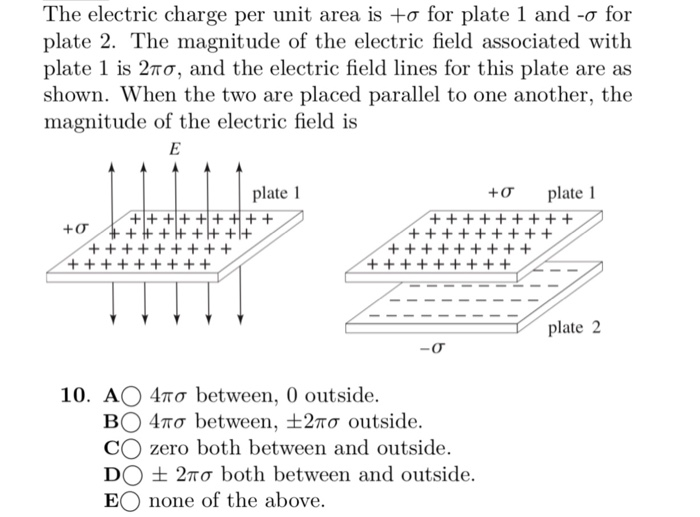 The Electric Charge Per Unit Area Is σ For Plate 1 And O