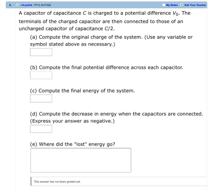 Solved A Capacitor Of Capacitance C Is Charged To A Poten