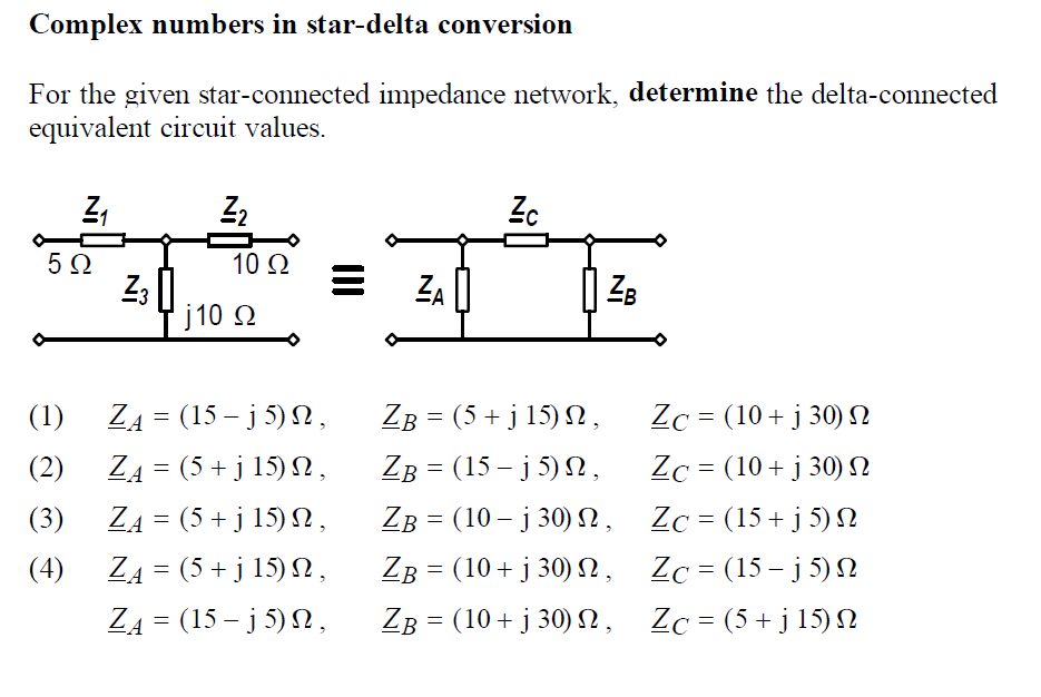Solved: Complex Numbers In Star-delta Conversion For The G