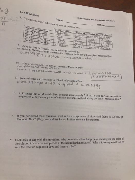 Solved: Lab Worksheet Estimating The Acid Content Of S Sof ...