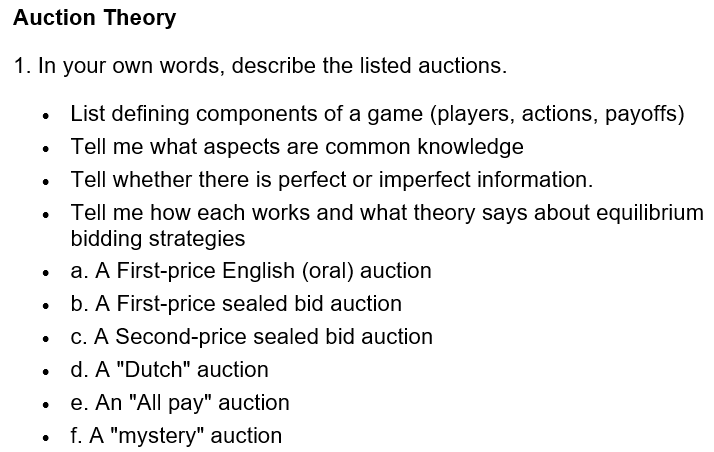 Solved Auction Theory 1 In Your Own Words Describe The