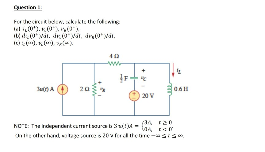 solved question 1 for the circuit below calculate the f rh chegg com