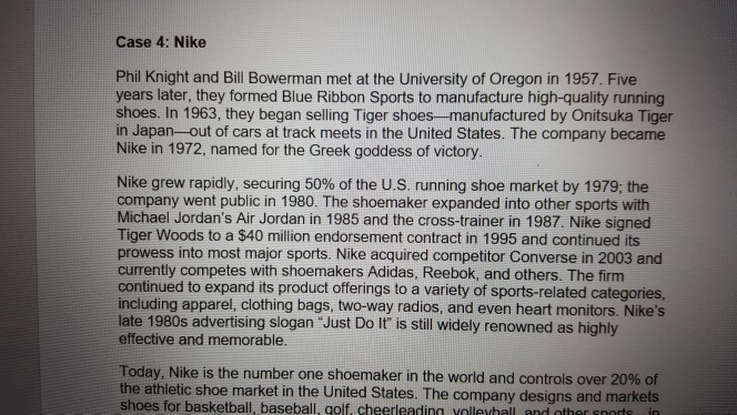9f0293f6bb Case 4: Nike Phil Knight and Bill Bowerman met at the University of Oregon  in