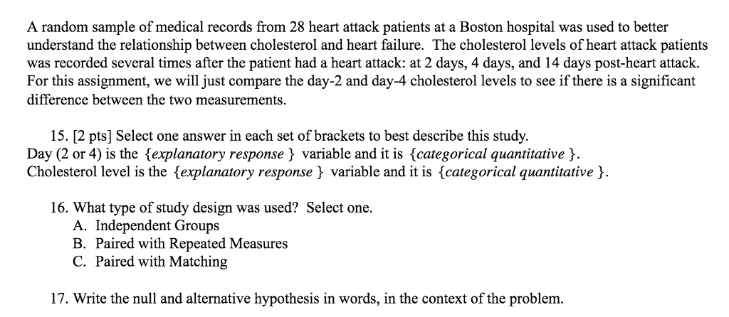 Solved A Random Sample Of Medical Records From 28 Heart A