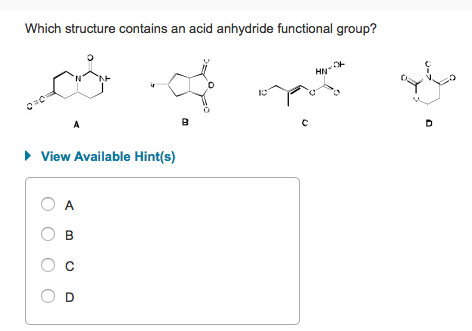 Solved: Which Structure Contains An Acid Anhydride Functio