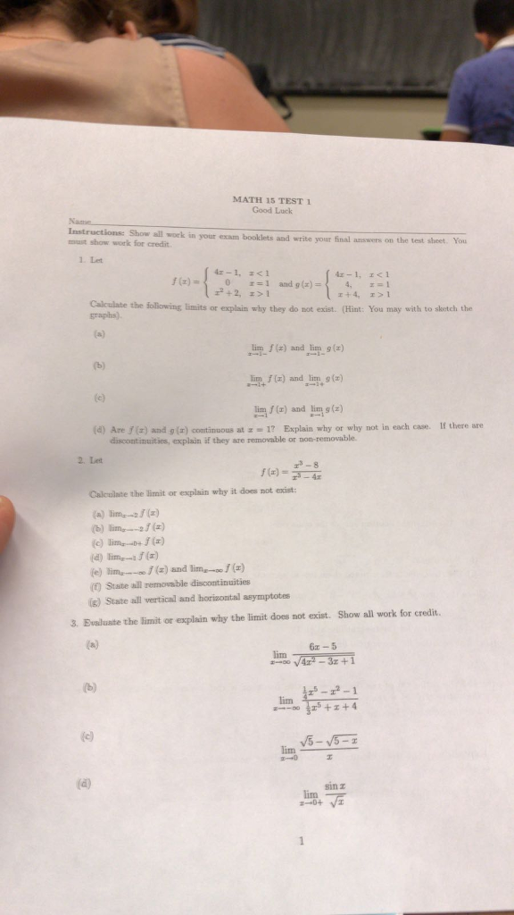 Solved Math 15 Test 1 Good Luck Instructions Show All Wo
