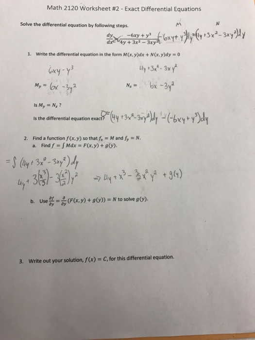 Solved: Math 2120 Worksheet #2-Exact Differential Equation